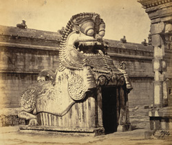 Yali entrance to tank, Margasahayeshvara Temple, Virinchipuram
